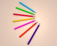 Color pencils. Front view, on cream background, created in 3d Studio Max Royalty Free Stock Photos