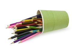 Color pencils are in the glass Royalty Free Stock Images