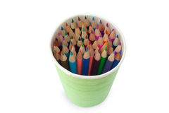 Color pencils are in the glass Stock Photos
