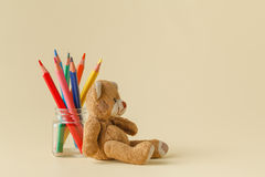 Color pencils in glass jar Royalty Free Stock Images