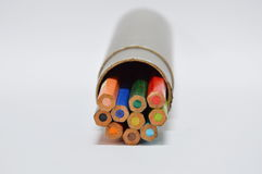 Color pencils in the grey box Stock Photos