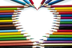 Color pencils in heart shape Stock Photo