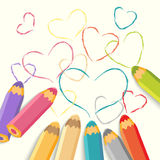 Color Pencils with Hearts. Royalty Free Stock Photo