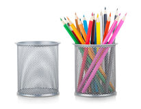 Color pencils and holder Stock Photo