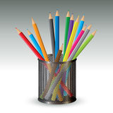 Color pencils in holder Royalty Free Stock Image