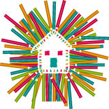 Color Pencils House Royalty Free Stock Photography