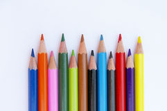 Color pencils I. Collection of colorful pencils, isolated on white Royalty Free Stock Photography