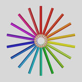 Color pencils. Illustration of colour pencils with sun burst shape Royalty Free Stock Photo