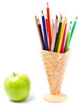 Color Pencils In Ice Cream Shape Holder, Back To School Supplies Stock Images