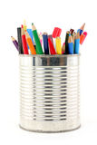 Color Pencils In Tin Royalty Free Stock Photo