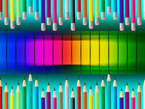 Color Pencils Indicates Colorful Schooling And Tutoring Stock Photography