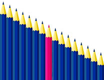 Color pencils. Individuality concept. One pink pencil between row of dark blue pencils on white background Stock Photo