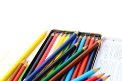 Color pencils isolated over white background Stock Image