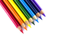 Color pencils isolated over white Stock Photography