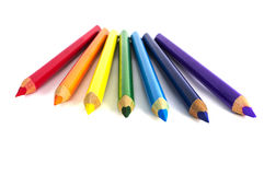 Color pencils isolated over white. Rainbow colored color pencils isolated over white Royalty Free Stock Photos