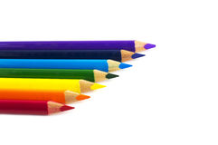 Color pencils isolated over white. Rainbow colored color pencils isolated over white Stock Image