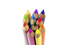 Color pencils isolated over white. Rainbow colored color pencils isolated over white Stock Photography