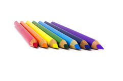 Color pencils isolated over white. Rainbow colored color pencils isolated over white Royalty Free Stock Images