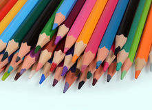 Color pencils isolated on white background. In a beautiful way Stock Photos
