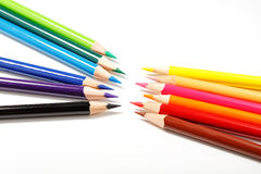 Color pencils isolated on white background. Royalty Free Stock Photos