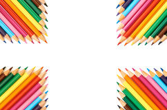 Color pencils isolated on white background close up pattern Stock Photography