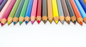 Color pencils isolated on the background stock image