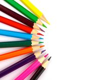 Color pencils isolated on the white background stock images