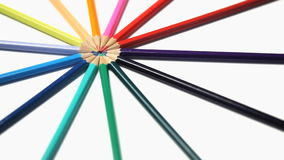 Color pencils joined at their top rotating stock video footage