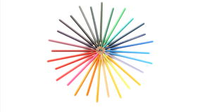 Color pencils joined at their top turning stock footage