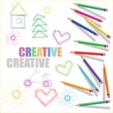 Color pencils with kids drawings and text creative Stock Photos