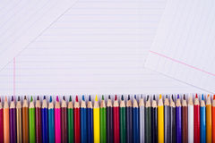Color pencils lie exactly one to one Royalty Free Stock Image