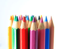 Color pencils in a line Royalty Free Stock Images