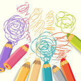 Color pencils with line Royalty Free Stock Photography