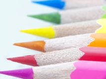 Color pencils macro. Color pencil set, image, macro royalty free stock photo