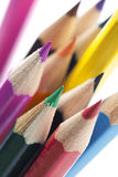 Color pencils macro. Closeup of various color pencil tips royalty free stock photography