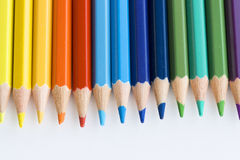 Color pencils macro. Macro detail of a set of colored pencils royalty free stock photo