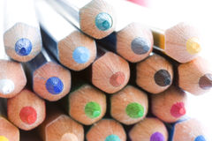 Color pencils macro. Macro detail of a set of colored pencils royalty free stock photography