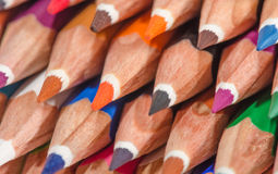 Color pencils macro. Sharpened pencils and placed in group stock photography