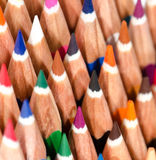 Color pencils macro. Sharpened pencils and placed in group stock photos