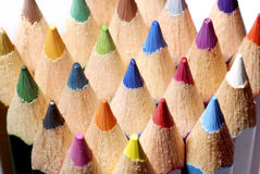 Color pencils macro. Macro detail of a set of colored pencils royalty free stock images