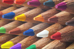 Color pencils macro. Macro detail of a set of colored pencils stock photo