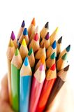 Color pencils. Macro on white background royalty free stock image
