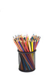 Color pencils in metal basket isolated white background. Vertical shot Royalty Free Stock Photos