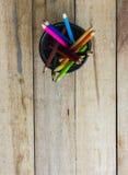 Color pencils in metallic modern basket Stock Photography
