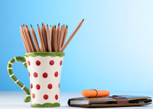 Color pencils in a mug Royalty Free Stock Photography