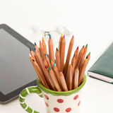 Color pencils in a mug Royalty Free Stock Photos