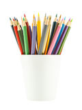 Color pencils in mug white Stock Photography
