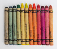 Color pencils / old wax crayons on white paper Royalty Free Stock Photos