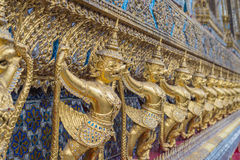 Color pencils onGolden garuda of Wat Phra Kaew at Bangkok, Thailand white background Stock Images