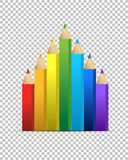 Color pencils over a blank design layer Royalty Free Stock Image